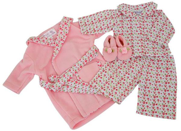 DOLLS FLOWER TRIM DRESSING GOWN MATCHING PJS AND SLIPPERS FOR 43 CM ...