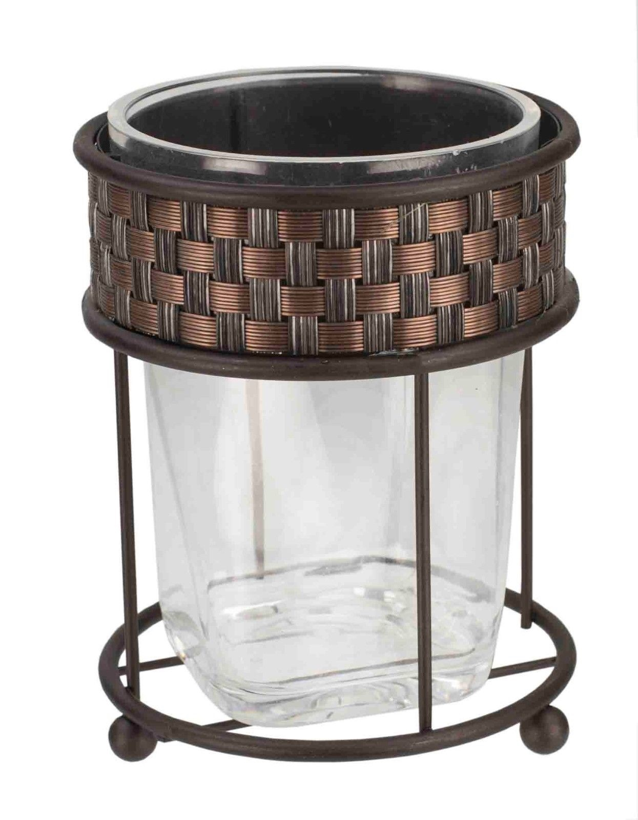 BA41236 Home Basics NEW Basket Weave Bronze Bathroom Tumbler Cup