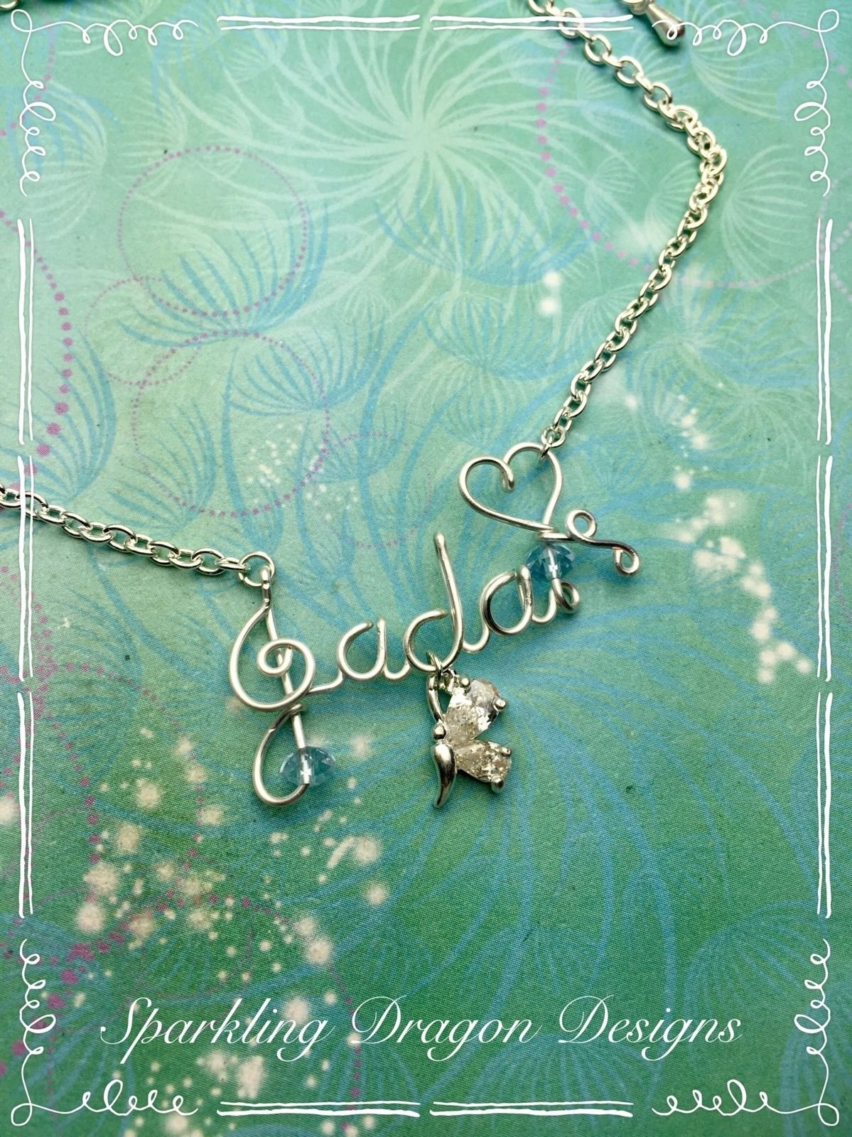 Silver Wire Name Necklace with CZ Butterfly Charm + Birthstone ...