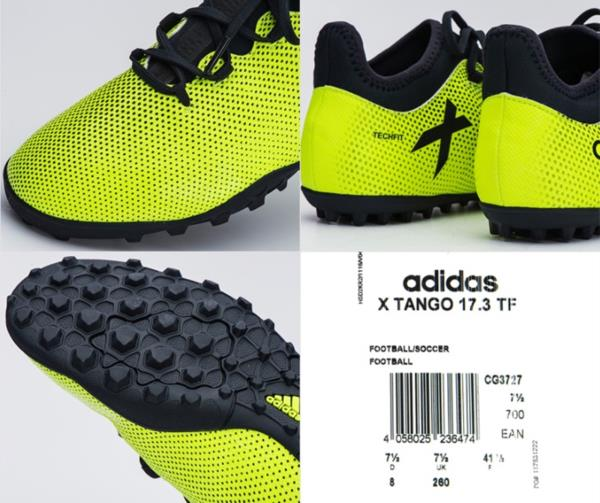 cheap for discount 935e9 9c61a Adidas Men Tech-fit X Tango 17.3 TF Cleats Futsal Volt Shoes Soccer ...