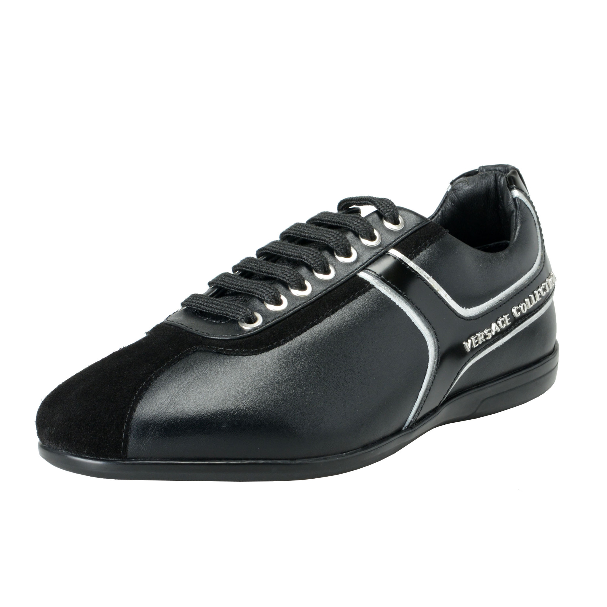 Details about Versace Collection Men's Black Leather Fashion Sneakers Shoes  6 7 8 9 10 11