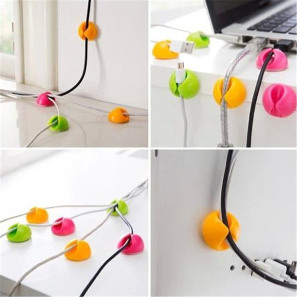 6XCable Drop Tidy Holder Clip Lead Organiser Wire Cord USB TV PC TV Colorful New