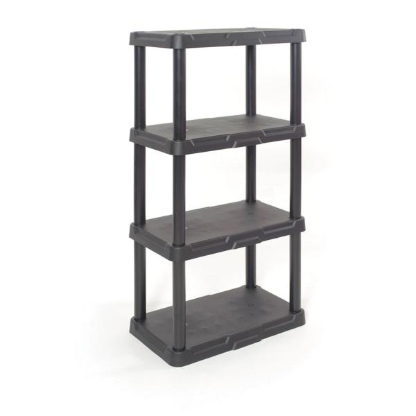 PLASTIC STORAGE SHELVES 4 Tier Freestanding Durable Unit Indoor Garage  Organizer