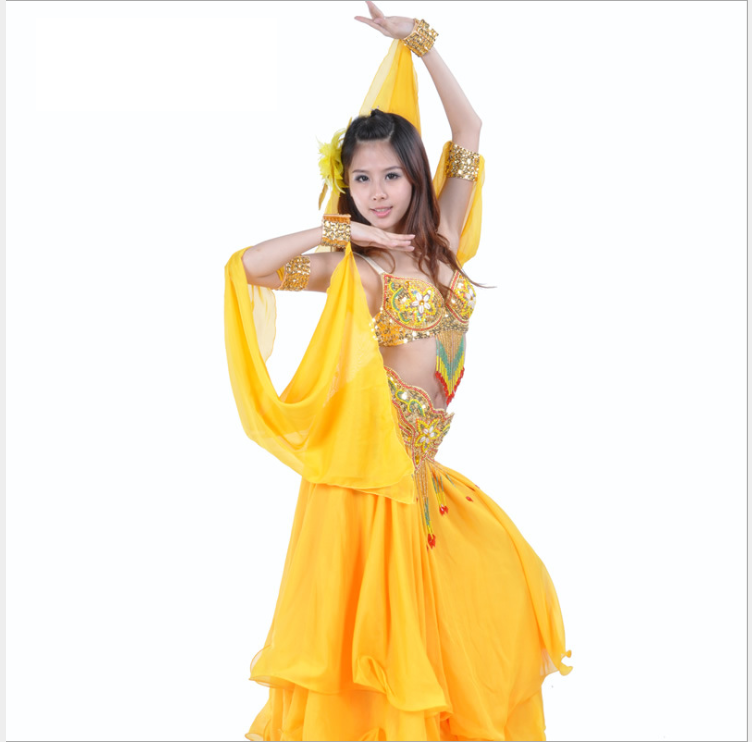 one pair Bicyclic Arm Sleeves Chiffon Arm Bands with Beads Bracelets Belly Dance