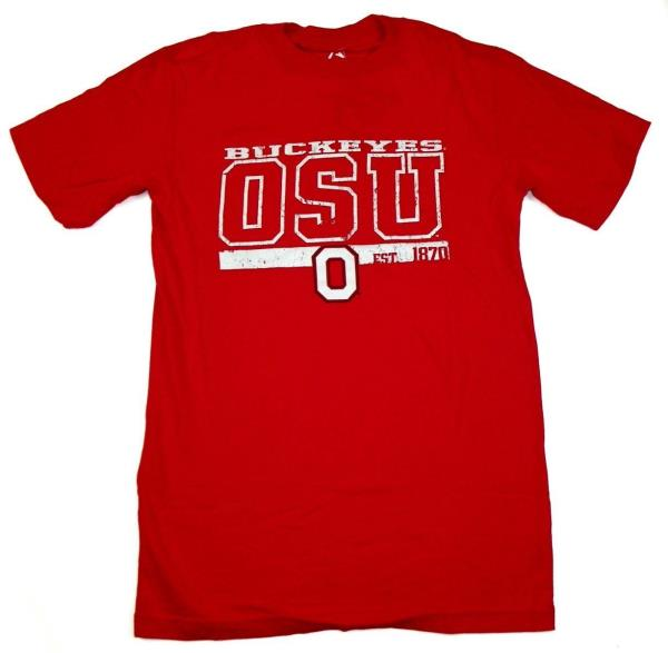 a6de38bbf ... Buckeyes Shirt Men's OSU EST 1870 Distressed Tee Red T-Shirt.  Collegiate Licensed Product ...