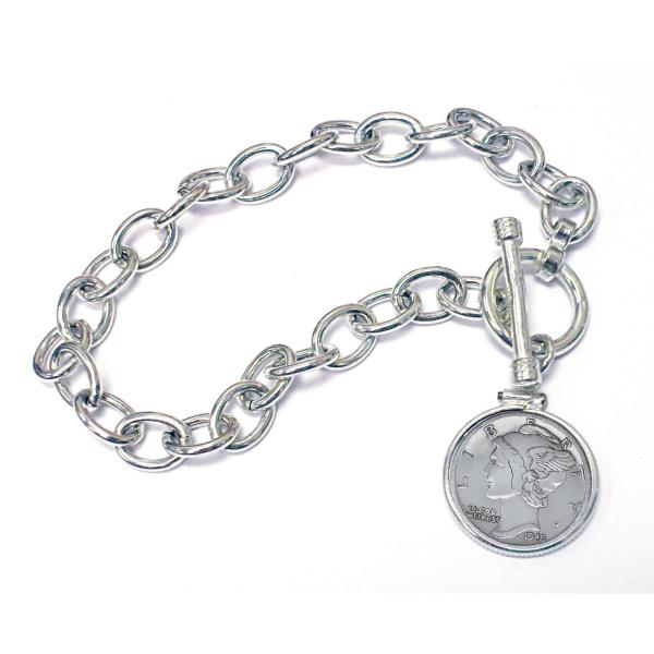 NEW  Year to Remember Sterling Silver Toggle Dime Coin Bracelet 1944