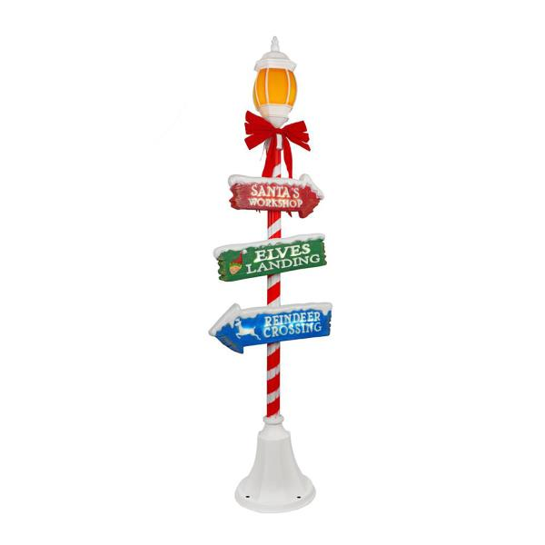 Lighted christmas lamp post 6 ft candy cane sings led for Christmas decorations for outside lamp post