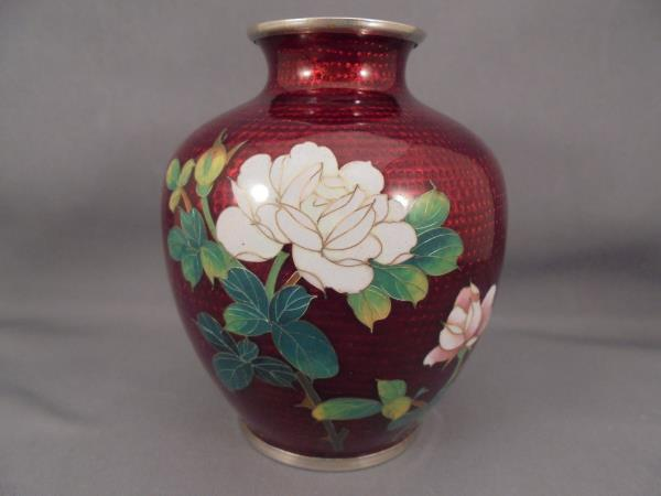 Sato Japan Cloisonne Vase Red With White Pink Roses Bamboo 3 34