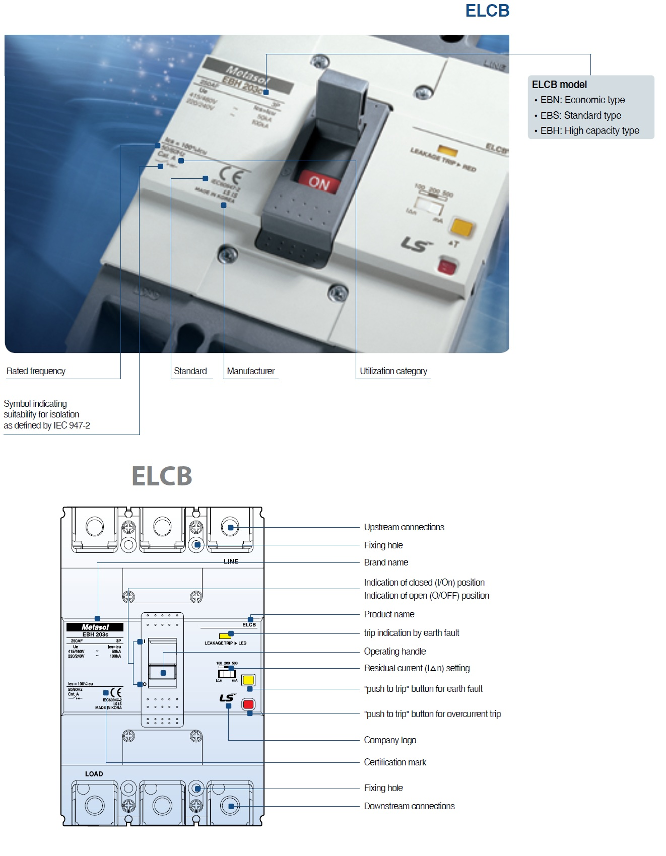 Lsis Ebs404c Metasol Elcb 400af Standard Type 4p Earth Leakage Circuit Diagram Breakers