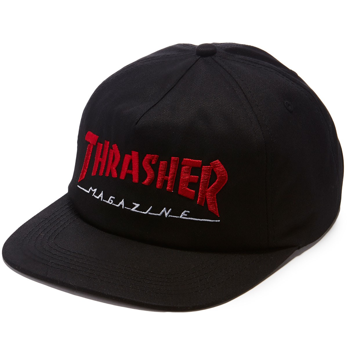 Thrasher Cap Magazine Two Tone Unstructured Black Snapback Skateboard Mag Hat