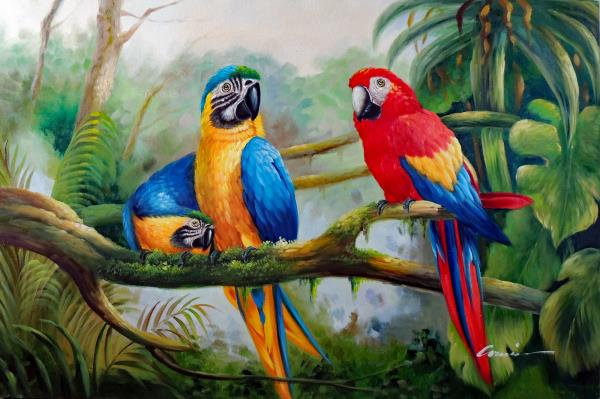 Details About Parrot Macaw Pair Birds On Tree Branch Caribbean Isle Stretched Oil Painting