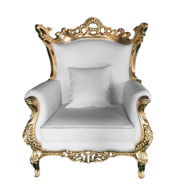Details about Chair - Accent Living Room Chair - Terra Baroque Rolled Arm  Chair White Leather