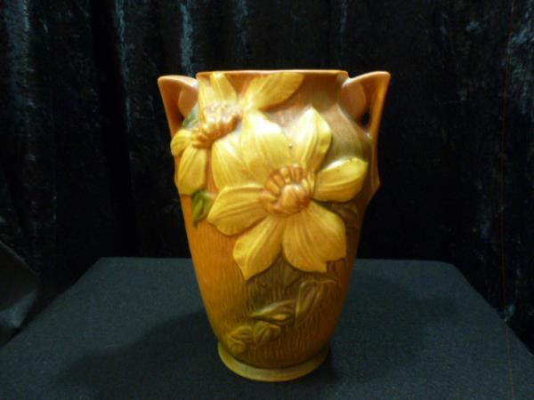 Vintage Roseville Pottery Clematis Autumn Brown 7 Vase 105 7 Ebay