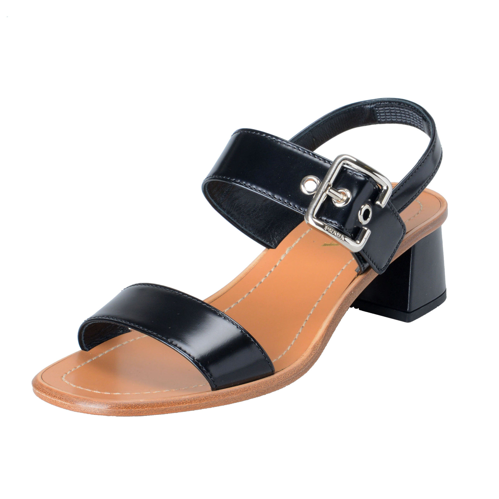 5a0bc7b9fea Details about Prada Women s Black Leather Heeled Slingbacks Sandals Shoes 6  7.5 8 9.5 10 10.5