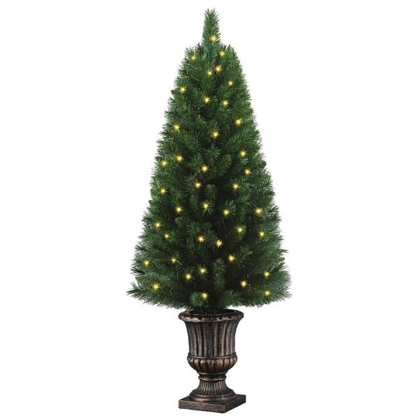 pre lit artificial christmas tree 4 ft potted porch outdoor holiday decoration - White Outdoor Christmas Tree