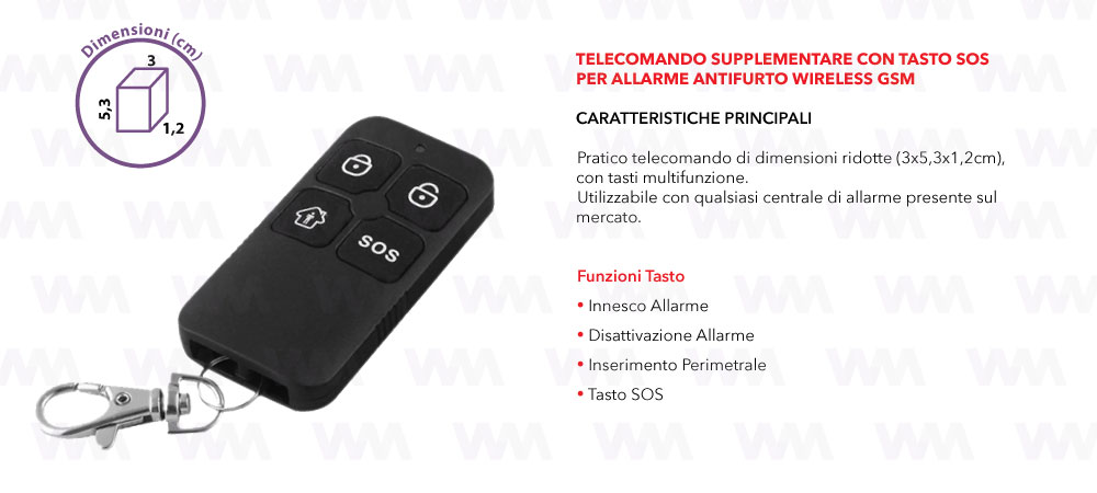 TELECOMANDO SUPPLEMENTARE CON TASTO SOS PER ALLARME ANTIFURTO WIRELESS GSM