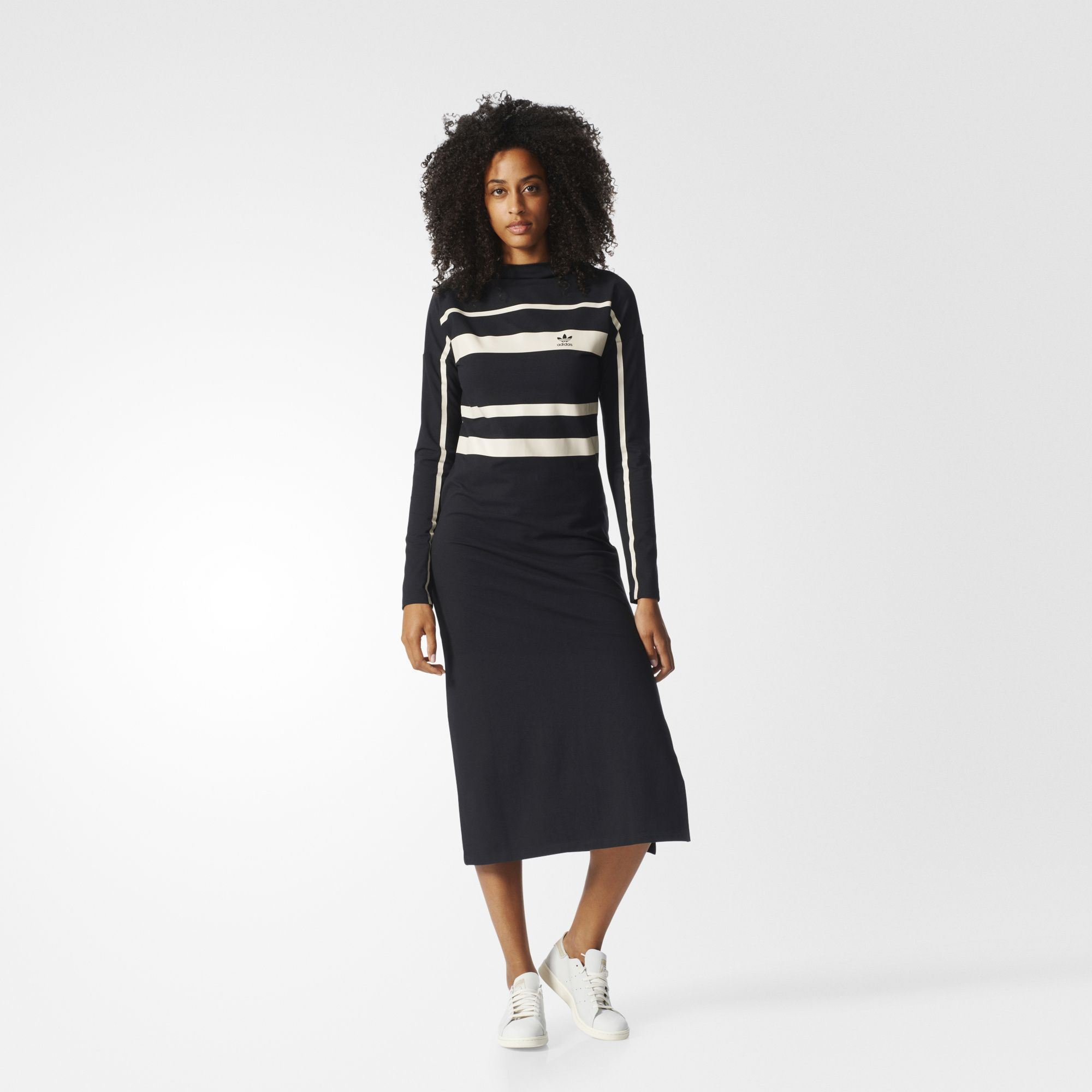 5b069e82fdc adidas Originals Womens 3 Stripe Long Trefoil Midi Dress Black BK5883  CLEARANCE. All sizes listed are UK. See sizing tab below for conversions.