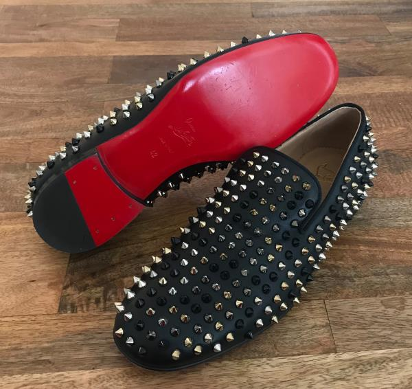 82ff028e44e Details about CHRISTIAN LOUBOUTIN Rollerboy Mixed Spikes Leather Flats  Loafers Mens Sz 42 -NEW