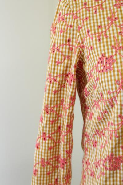 ea0f337c Odille Anthropologie Gingham Floral Embroidered Eyelet Button Down ...