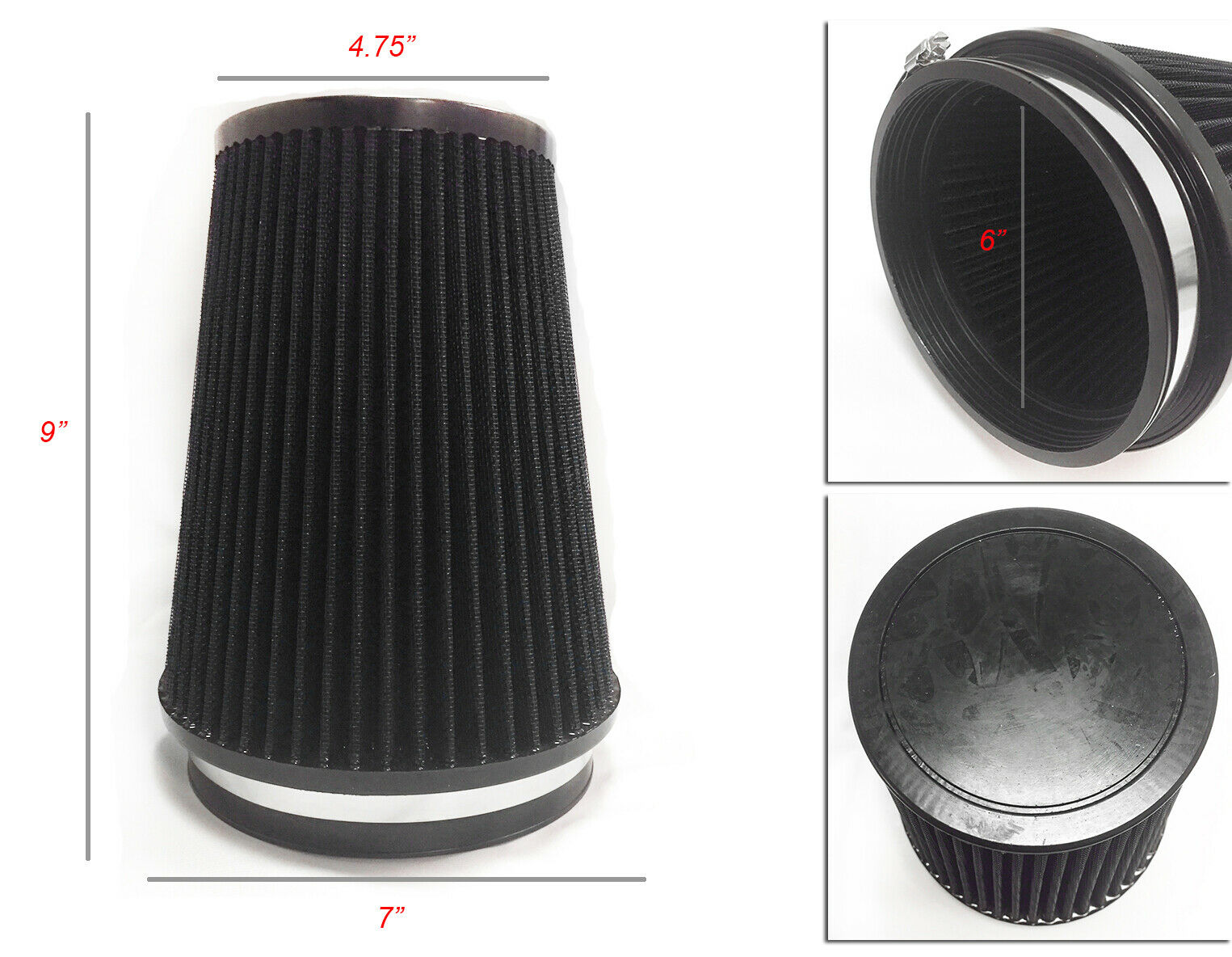 "RED 6 Inches 6/"" 152mm Inlet Cold Air Intake Cone Long TRUCK FILTER For Pontiac"