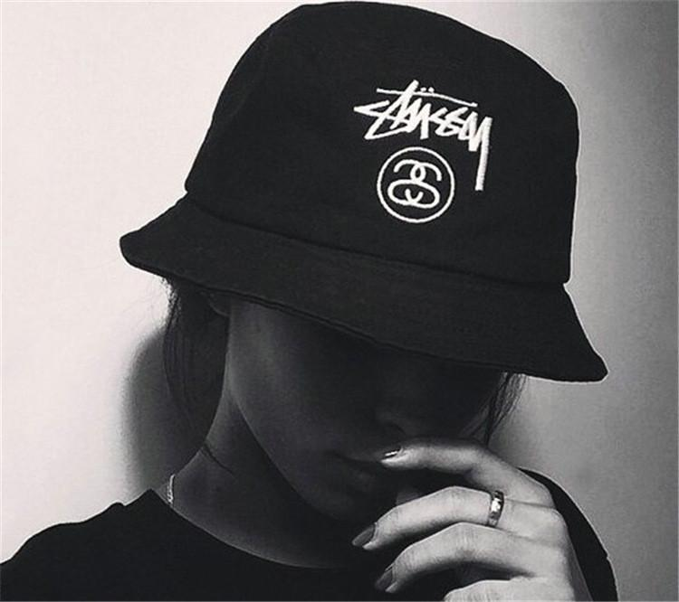 a6ad03be70a Details about Korean STUSSY Letter Embroidery Hat Bucket Hats Spring and  Summer Sun Hat Male a