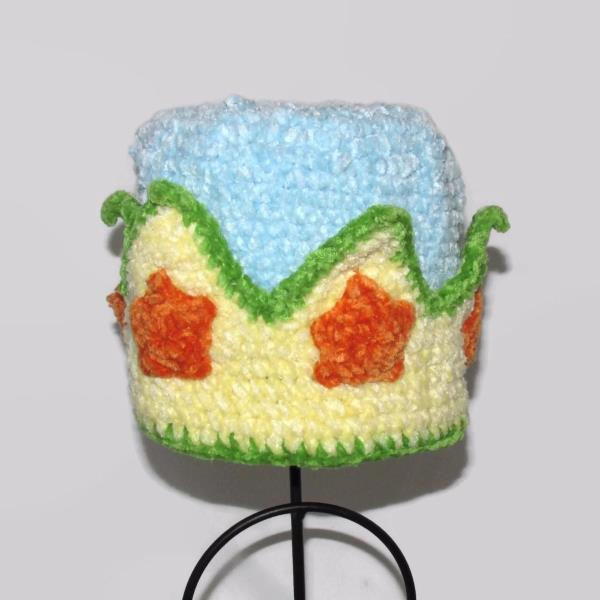 San Diego Hat Co BABY 0 to 6 month Unisex HAT Crown Blue Yellow Fabric Chenille
