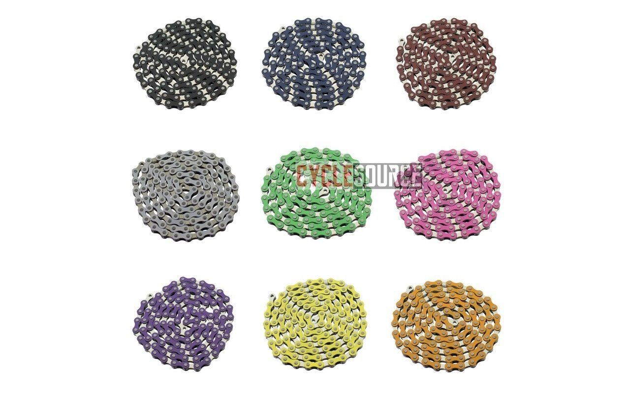 "NEW YBN Single Speed Bicycle Chain 1//2/""X1//8/"" 112L BMX Freestyle Chain ALL COLORS"