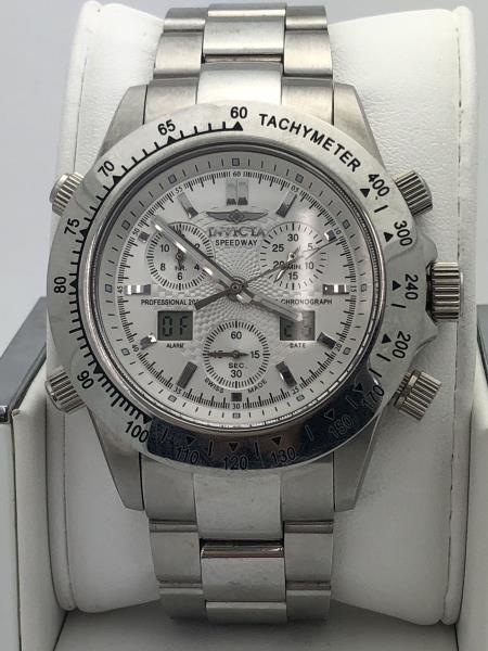 9bd3819e0 Details about Invicta Men's Chronograph Silver Dial Stainless Steel Case  and Bracelet Watch 28