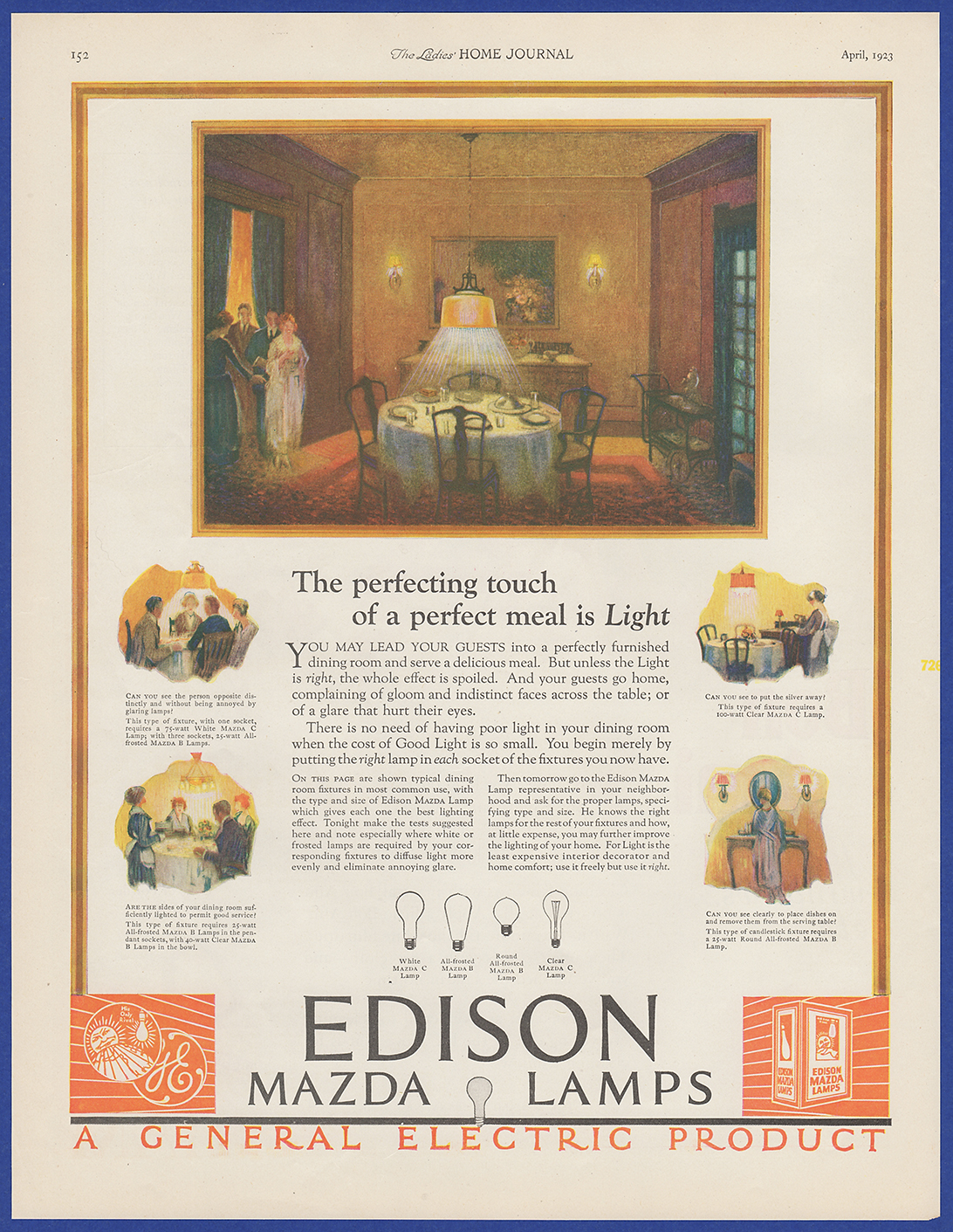 Details about Vintage 1923 EDISON Mazda Lamps Light Bulbs General Electric  Print Ad 1920's