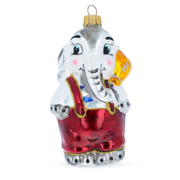 Details About Elephant With Balloon Mouth Blown Glass Christmas Ornament 5 1 Inches