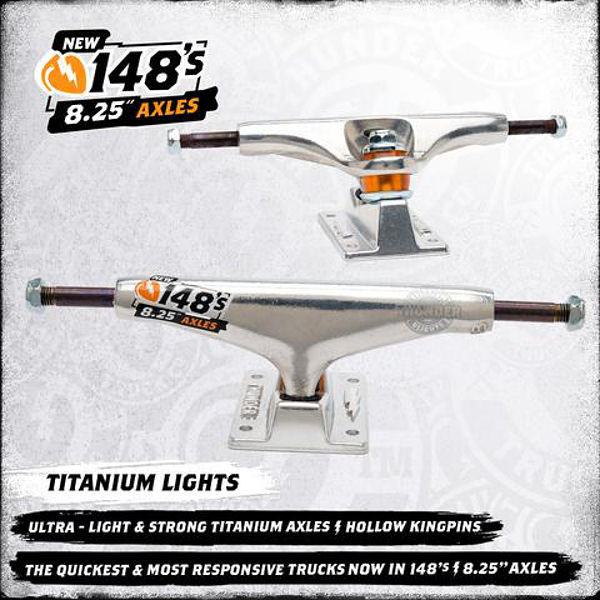 Thunder Skateboard Trucks Titanium Lights 148 Polished 8.25 Axle FREE POST