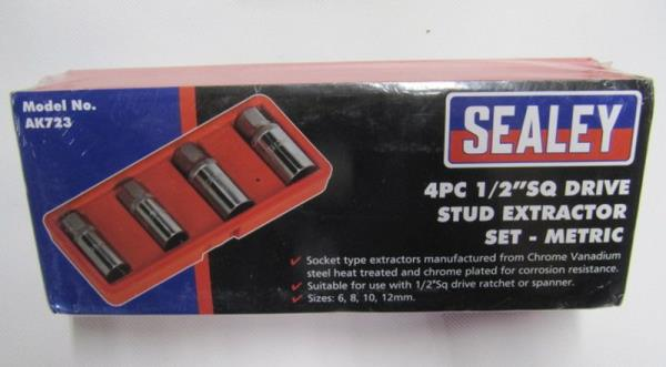 "Sealey Stud Extractor Set 4pc 1//2/""Sq Drive Metric AK723-5 YEAR WARRANTY"