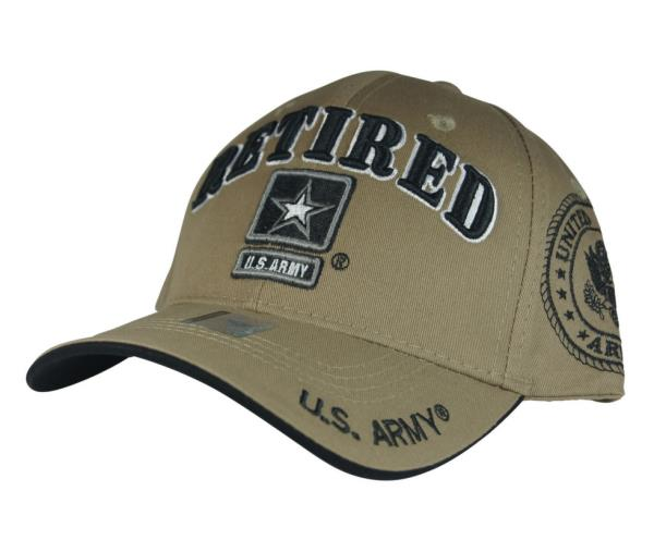 Details about NWT US ARMY RETIRED STAR 3D EMBROIDERY BASEBALL CAP HAT Adj  Back COLOR KHAKI 9480aa4253d4