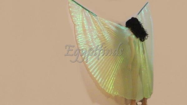 Egyptian Belly Dance Professional Iridescent Blue Rainbow Isis Wings Bag/&Sticks