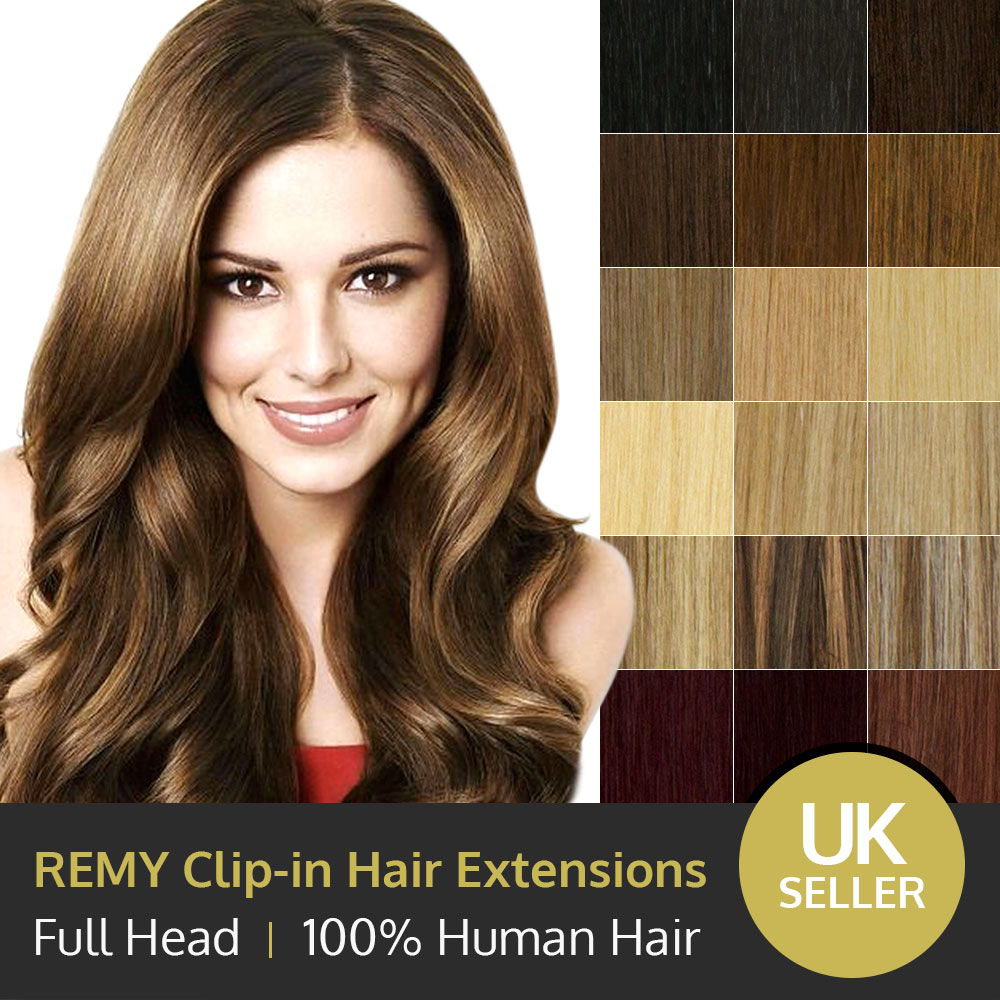 Luxury Clip In 100 Remy Human Hair Extensions Full Head Ebay