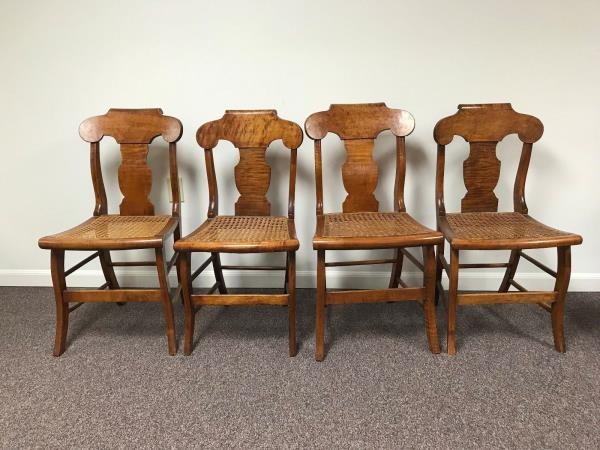 Set of 4 19th Century Tiger Figural Maple New England Saber Leg ...