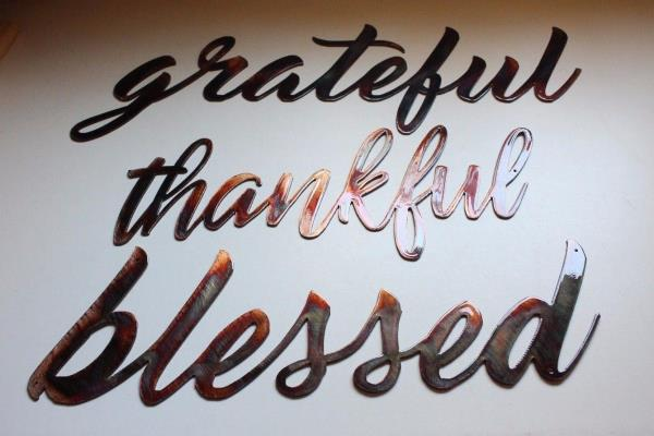 thankful Metal Wall Art Words.Copper//Bronze Plated