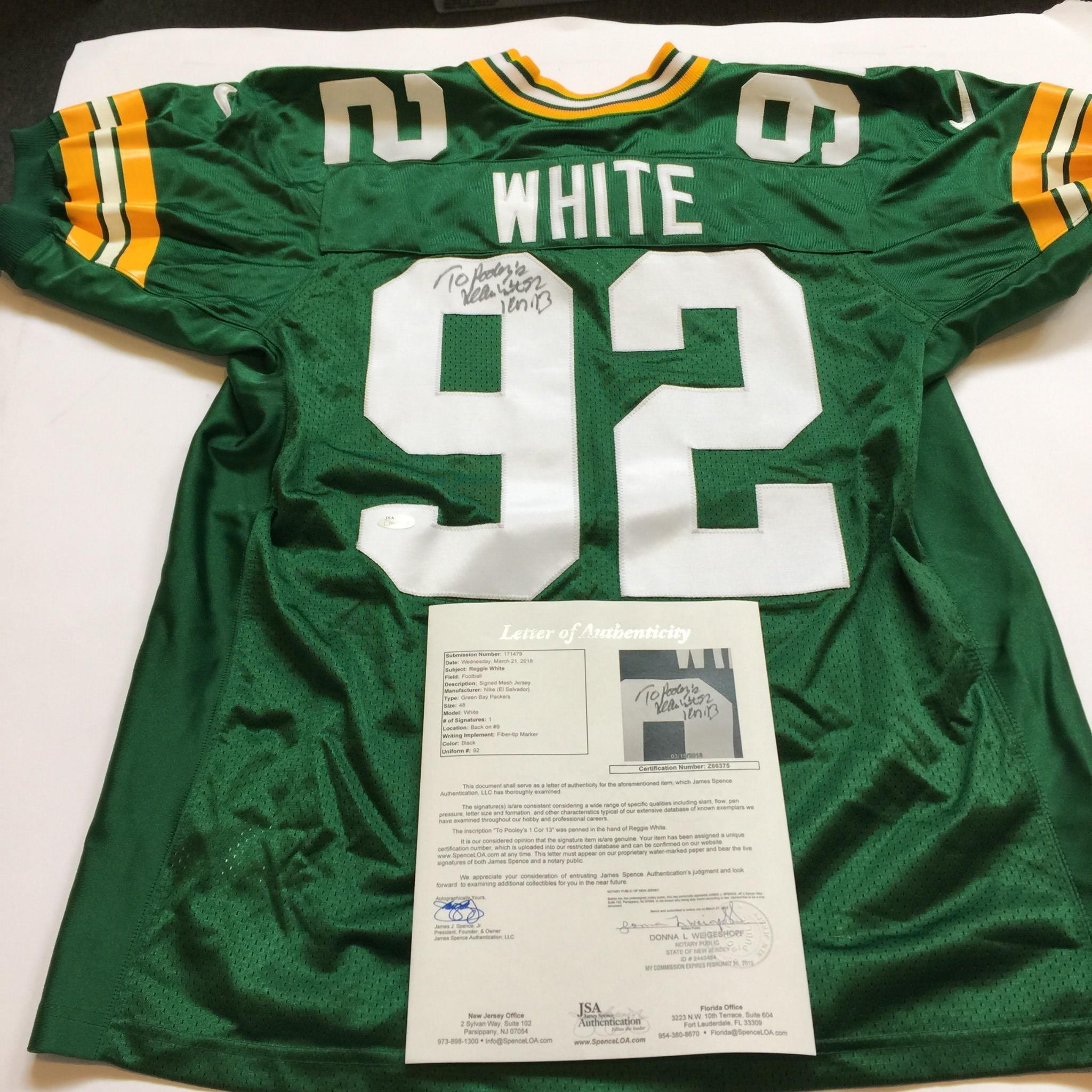 more photos 80f57 03df0 Details about Reggie White Signed Authentic Nike Green Bay Packers Game  Model Jersey JSA COA