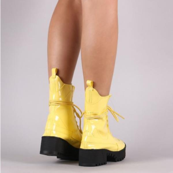 5adb3e2e5 Cape Robbin Dashing Yellow Lug Sole Lace Up Chunky Platform Ankle ...