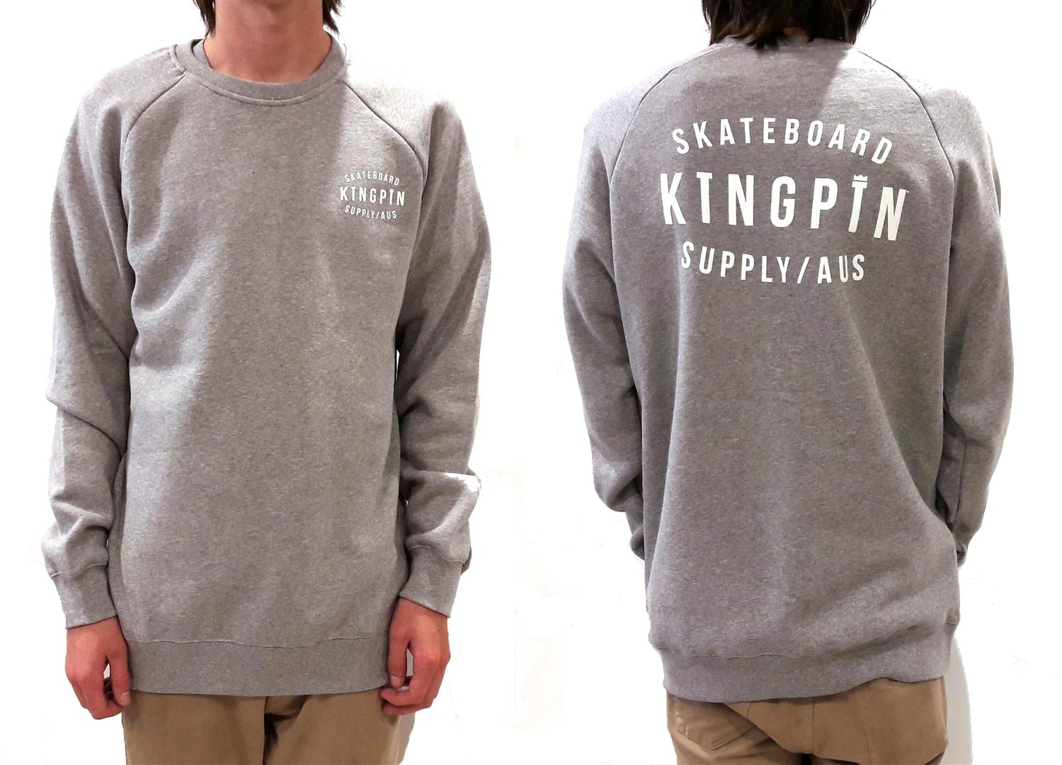 KINGPIN Skate Supply Crew Retro Grey Heather FREE POST Skateboard Jumper pullover