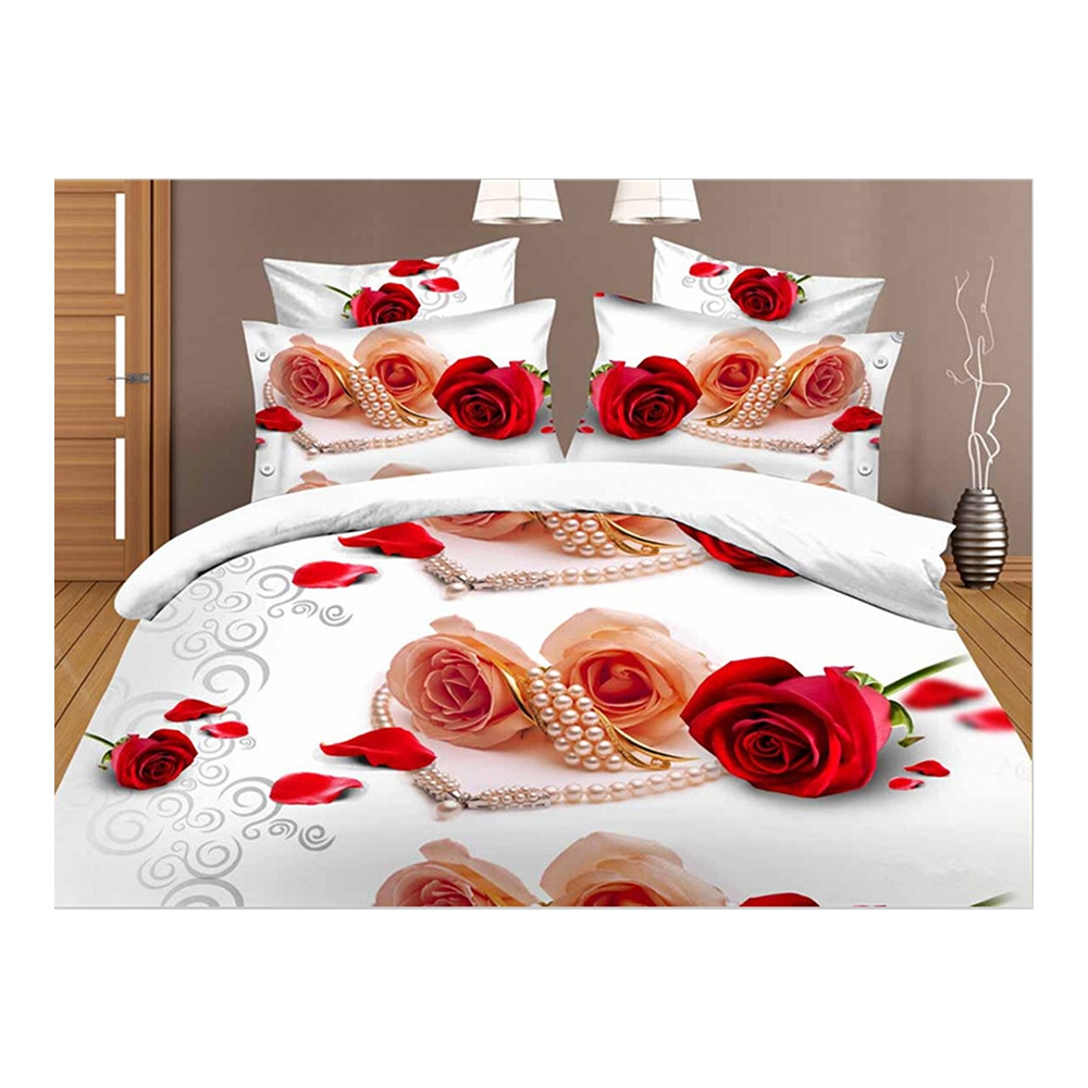 3D Flower Queen King Size Bed Quilt//Duvet Sheet Cover 4PC Set Tiger and Lion