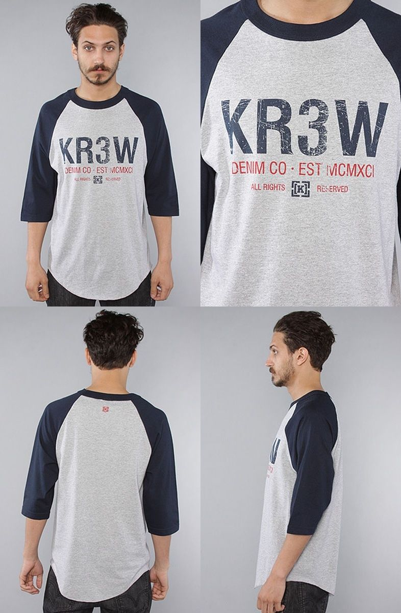KR3W Tee Denim Co Athletic Heather Raglan FREE POST Krew Skateboard T-Shirt