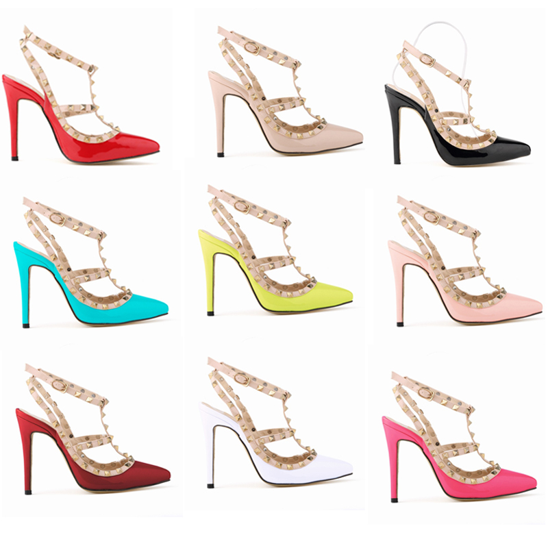 d5680627660 Details about Women's Rivet Pointed Toe Shoes Pumps High Heels Studded  Ankle Strap Sandals