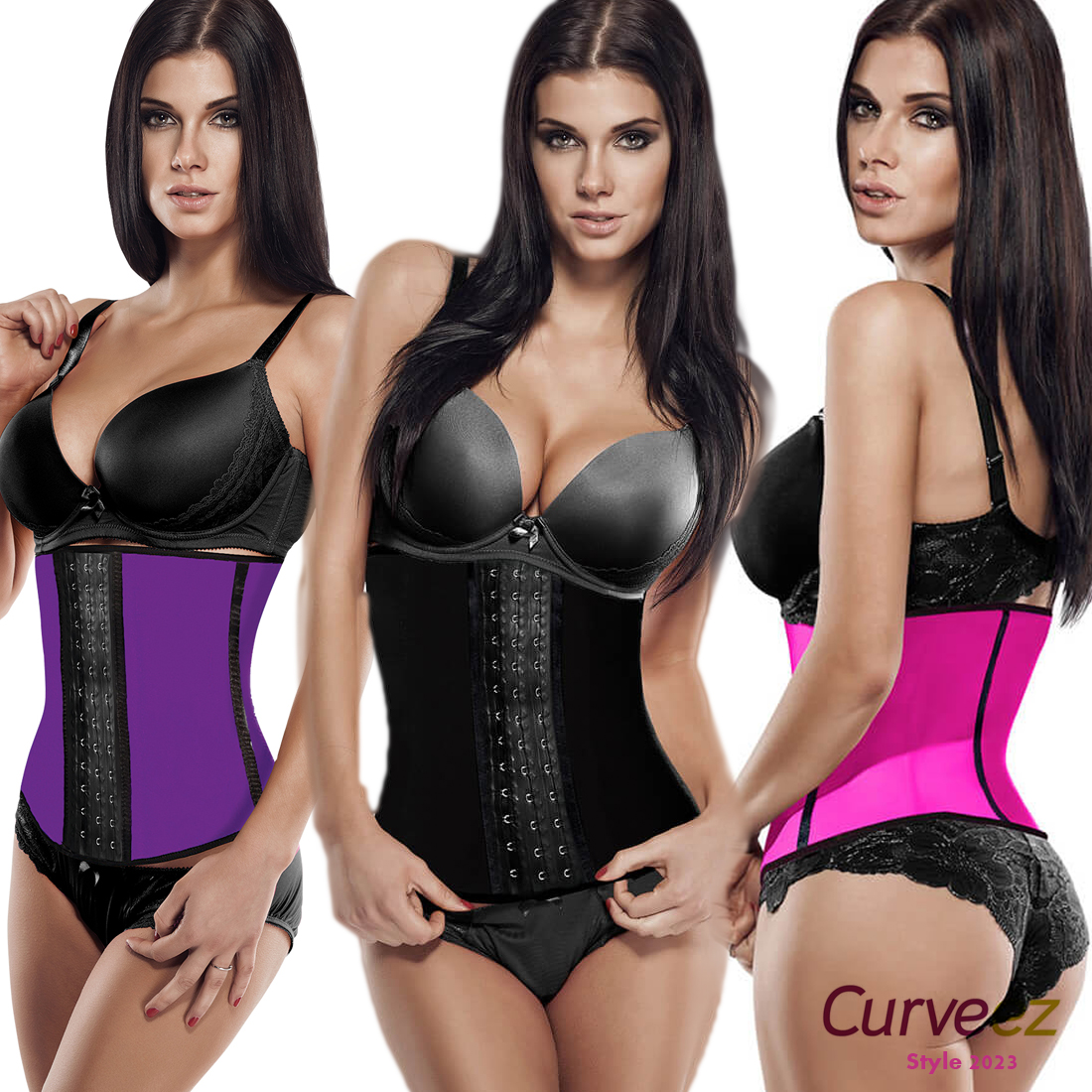 5e772752b0 Curveez Faja Termico Latex Waist Trainer Slim Abs Control Shaper Hook  Cincher