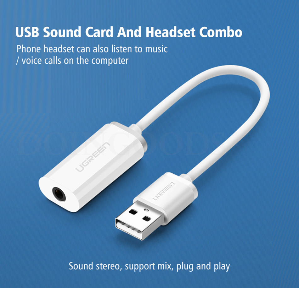 Ugreen Usb External Audio Sound Card To 3.5mm Jack Adapter Stereo Spea