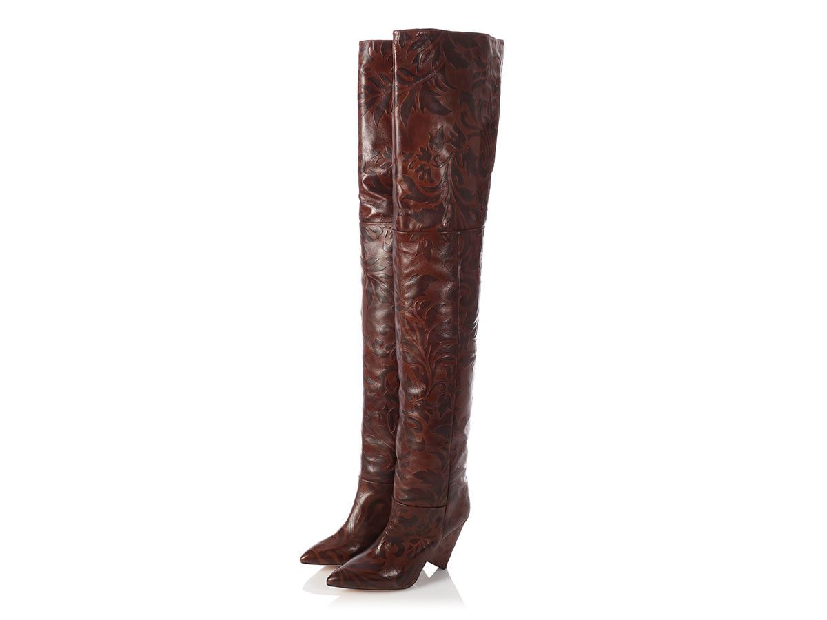 42b8e0a8871 ISABEL MARANT Brown Lostynn Embossed Leather Over the Knee Boots Size 39 9