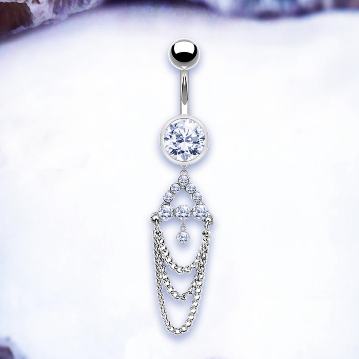 Details About Mila Dangle Belly Bar Chain Belly Button Rings Silver Navel Ring Crystal Navel