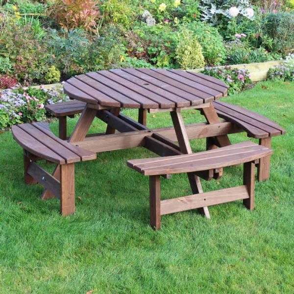 Seater Round Picnic Table Including Parasol Pub Quality Picnic - 8 seater round picnic table