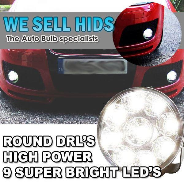 *Round DRL 4 LED Daytime Running Lights Units Bumper Grille Universal White 70mm
