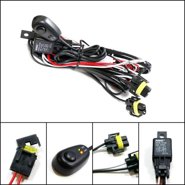 H11 H8 Relay Harness Wire Kit + LED ON/OFF Switch For Fog Lights HID ...